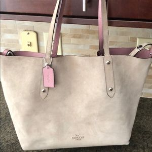 Coach Reversible Pink Leather/Gray Suede Tote!!